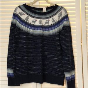 Talbots beautiful navy blue and gray sweater large
